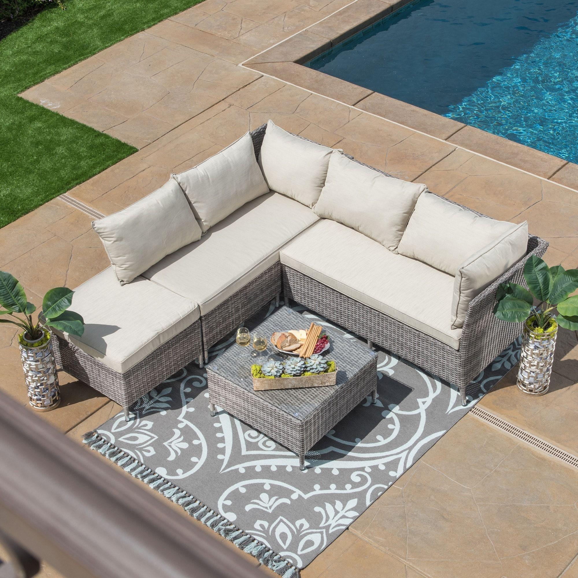 Corvus Bellanger 4 Piece Grey Wicker Patio Furniture Set Ms089