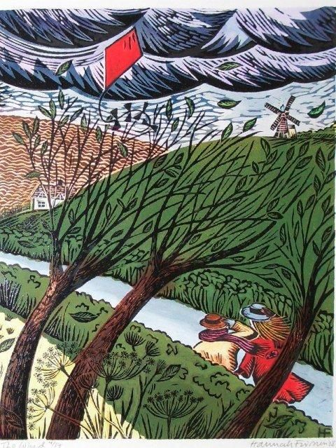 'The Wind' by British artist & printmaker Hannah Firmin. Hand-colored linocut block print, edition of 15, 352 x 455 mm. via the artist's site