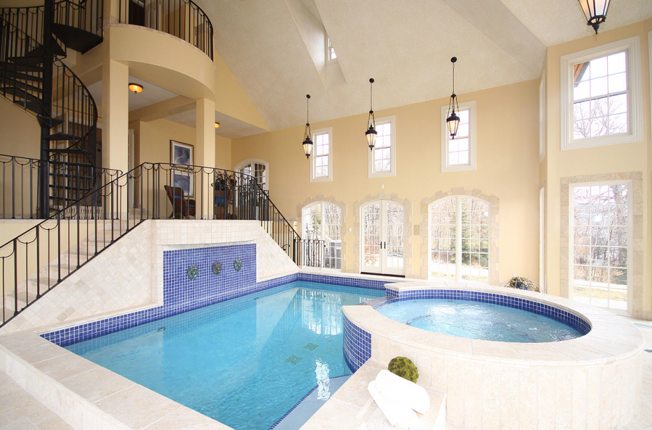 Swimming Pool, Elegant Rectangle Indoor Swimming Pool Design With Grey Tile  Pool Deck And Round
