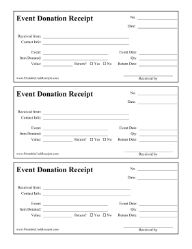 This Printable Donation Receipt Is For People Who Donate Items For An Event Whether They Are Returned After Donation Letter Fun Fundraisers Fundraising Letter