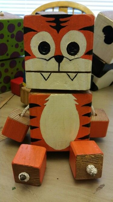 Tiger Wood Toy Natural Wood Wood Robot Diy Toy Woodtoy Robot