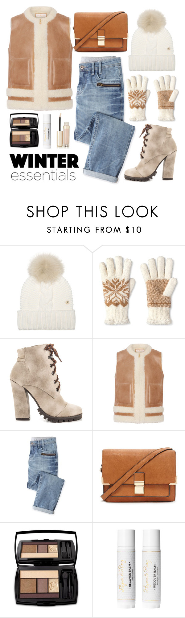 """""""Winter Essentials"""" by celida-loves-pink ❤ liked on Polyvore featuring Woolrich, Isotoner, Michael Antonio, Tory Burch, Wrap, Forever 21, By Terry, Minimalist, WhatToWear and winteressentials"""