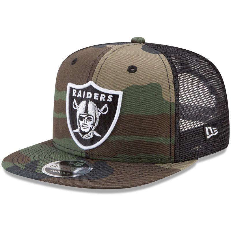 Oakland Raiders New Era Trucker 9FIFTY Snapback Adjustable Hat - Woodland  Camo Black 7ed5eadda4e