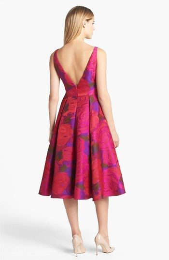 Adrianna Papell Jacquard Tea Length Fit Amp Flare Dress In