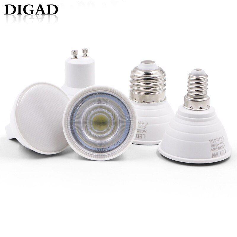 Digad 6pcs E27 E14 Mr16 Gu5 3 Gu10 Lampada Led Bulb 6w 220v Bombillas Led Lamp Spotlight Lampara Spot Light Led Bulb Lights For Buy Now Discount 30 01