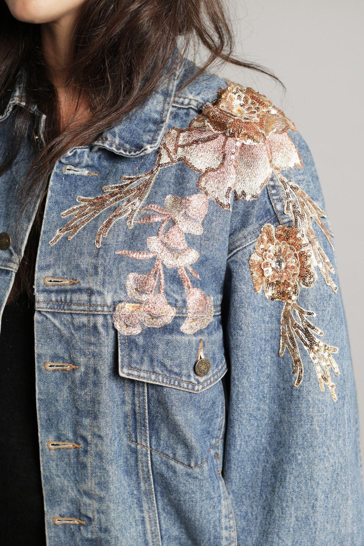 Customized Vintage Denim Jacket With Pink Flowers Black Label Amsterdam Vintage Denim Vintage Denim Jacket Denim Jacket