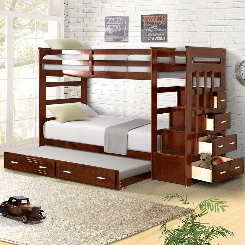 Jeremias Twin Over Twin Bunk Bed With Trundle And Drawers In 2020 Bunk Bed With Trundle Bunk Beds With Storage Twin Bunk Beds