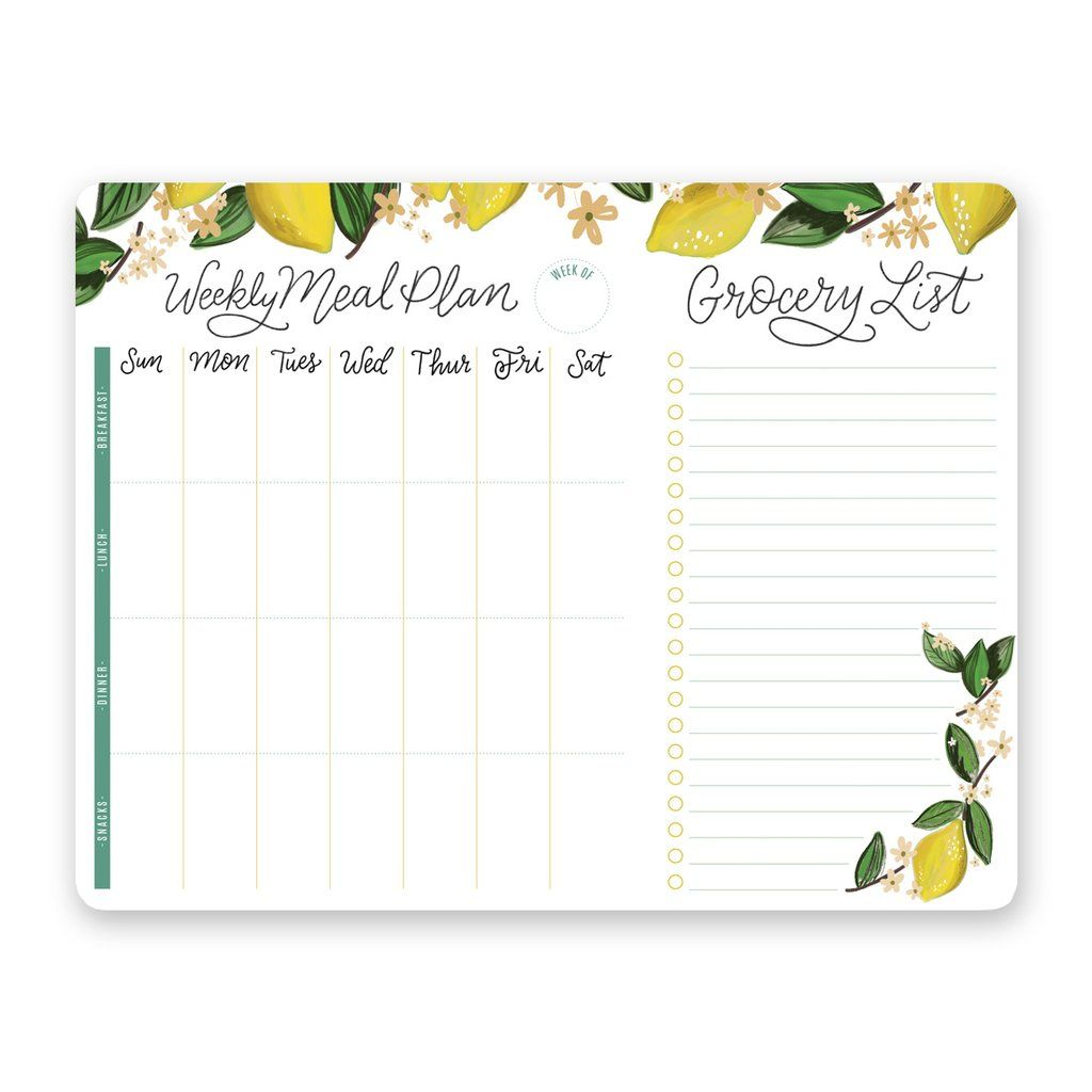 Whimsical Lemon Meal Planner Pad Amp Grocery List
