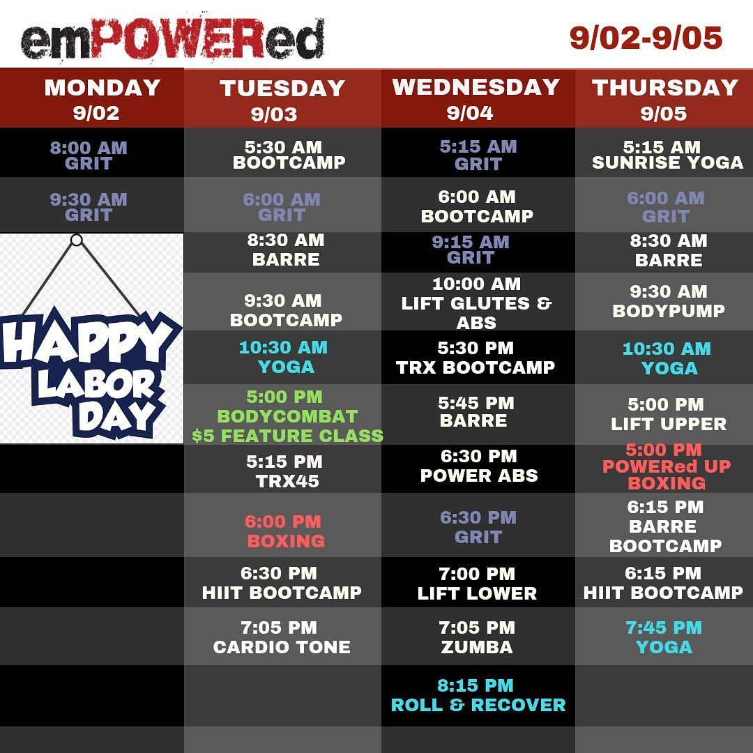 Hope everyone is having a beautiful Labor Day Weekend!! Here's the schedule! We will be closed tomor...
