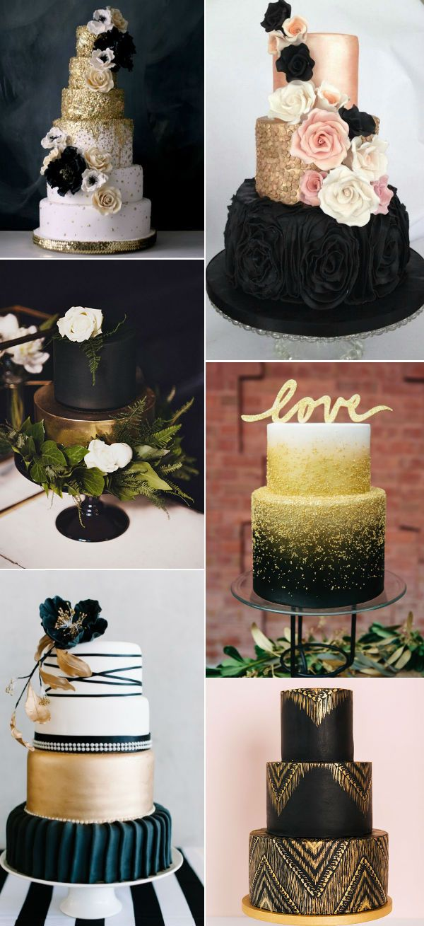 29 Luxurious Black And Gold Wedding Ideas   Glitter Weddings     pretty black and gold wedding cakes for 2016