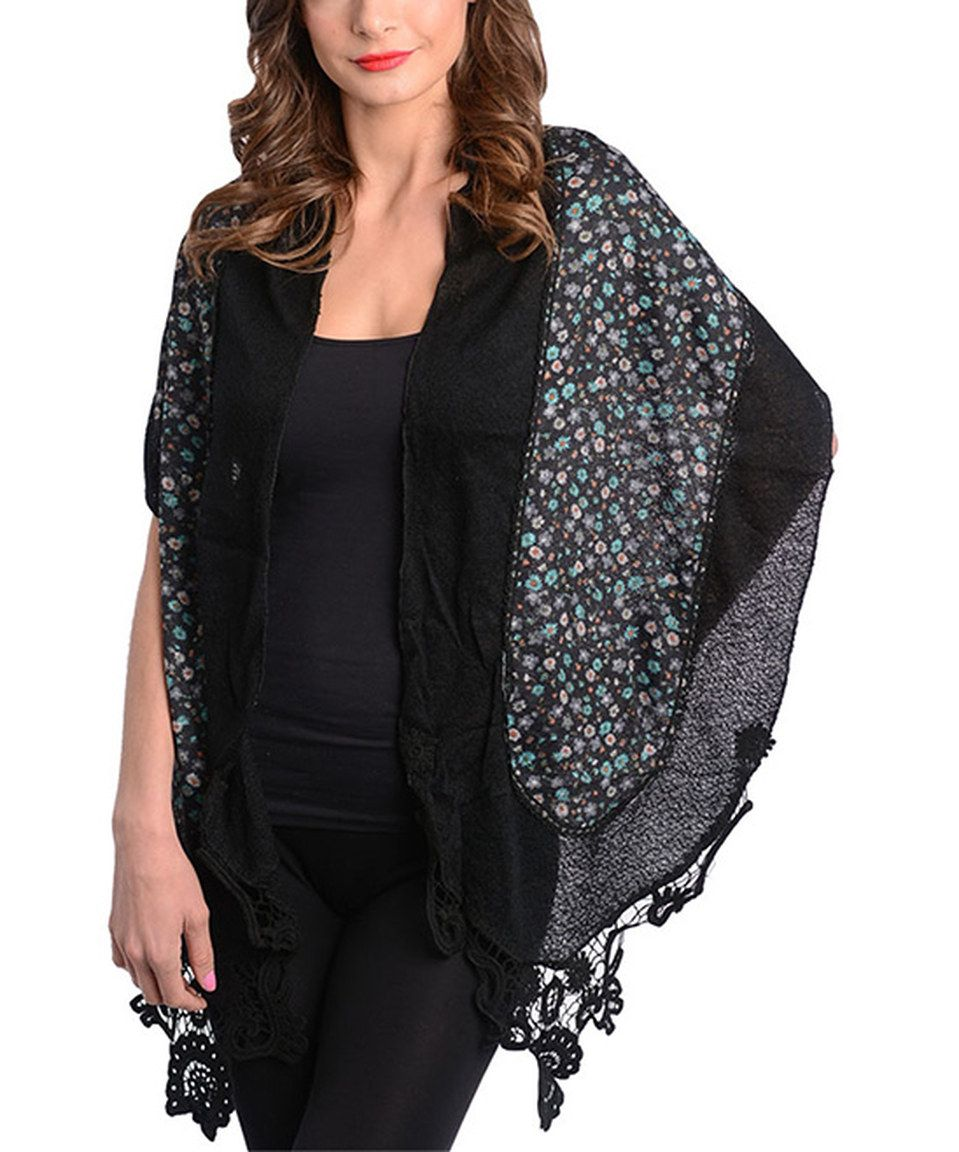 Love this Black Floral Lace Trim Scarf by Buy in America on #zulily! #zulilyfinds