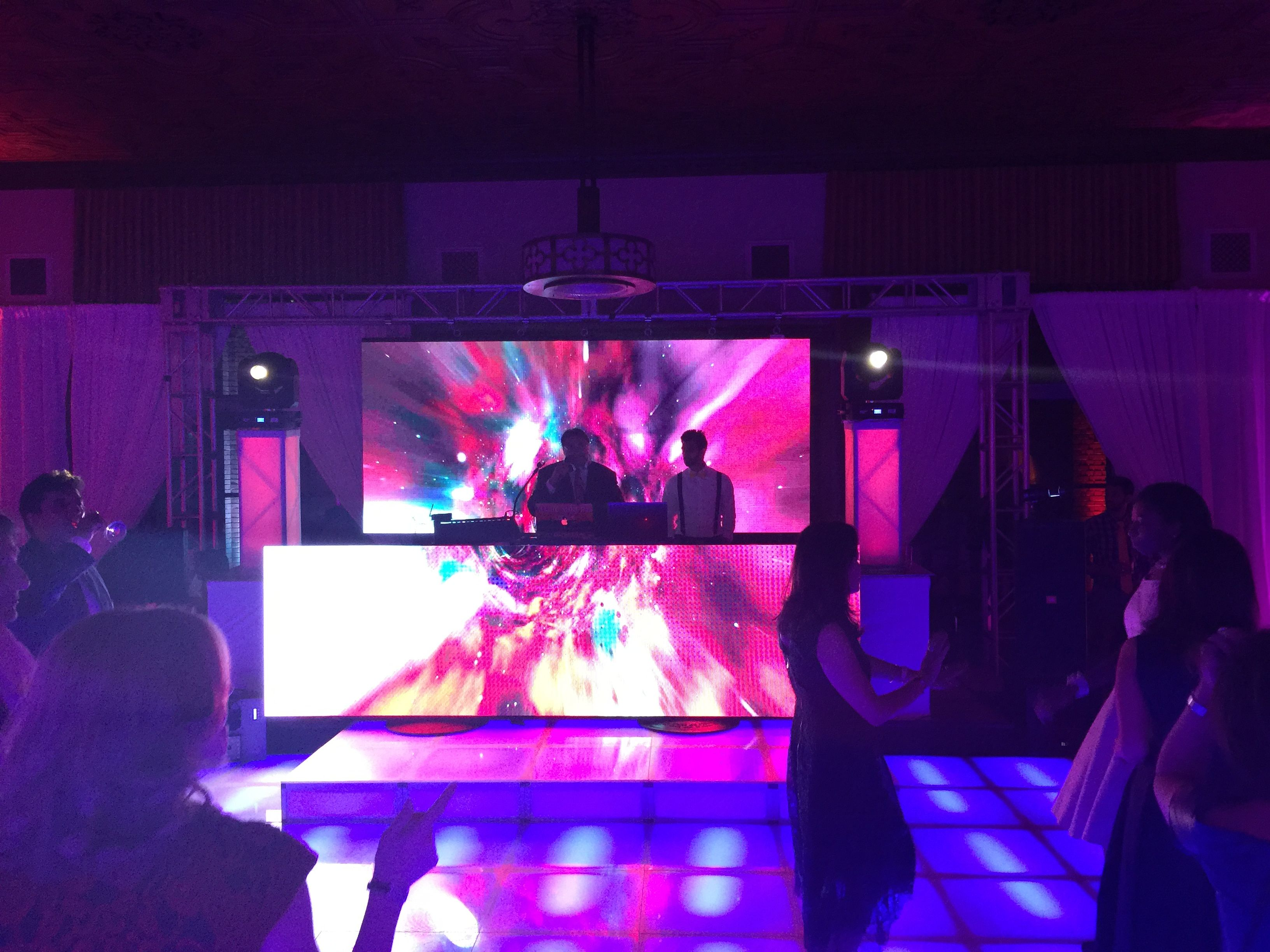 Led Video Wall Dj Booth With Lighted Stage Dance Floor New York Athletic Club Penthouse Led Video Wall Dj Booth Dance Floor