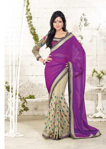 Purple colour #Georgette material designer #Sarees. #IndianWear #Fashion #Style