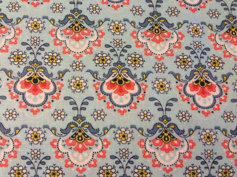 Stoffe gemustert - Stoff Baumwolle Blumen türkis koralle weiß - ein Designerstück von Naehhimmel bei DaWanda
