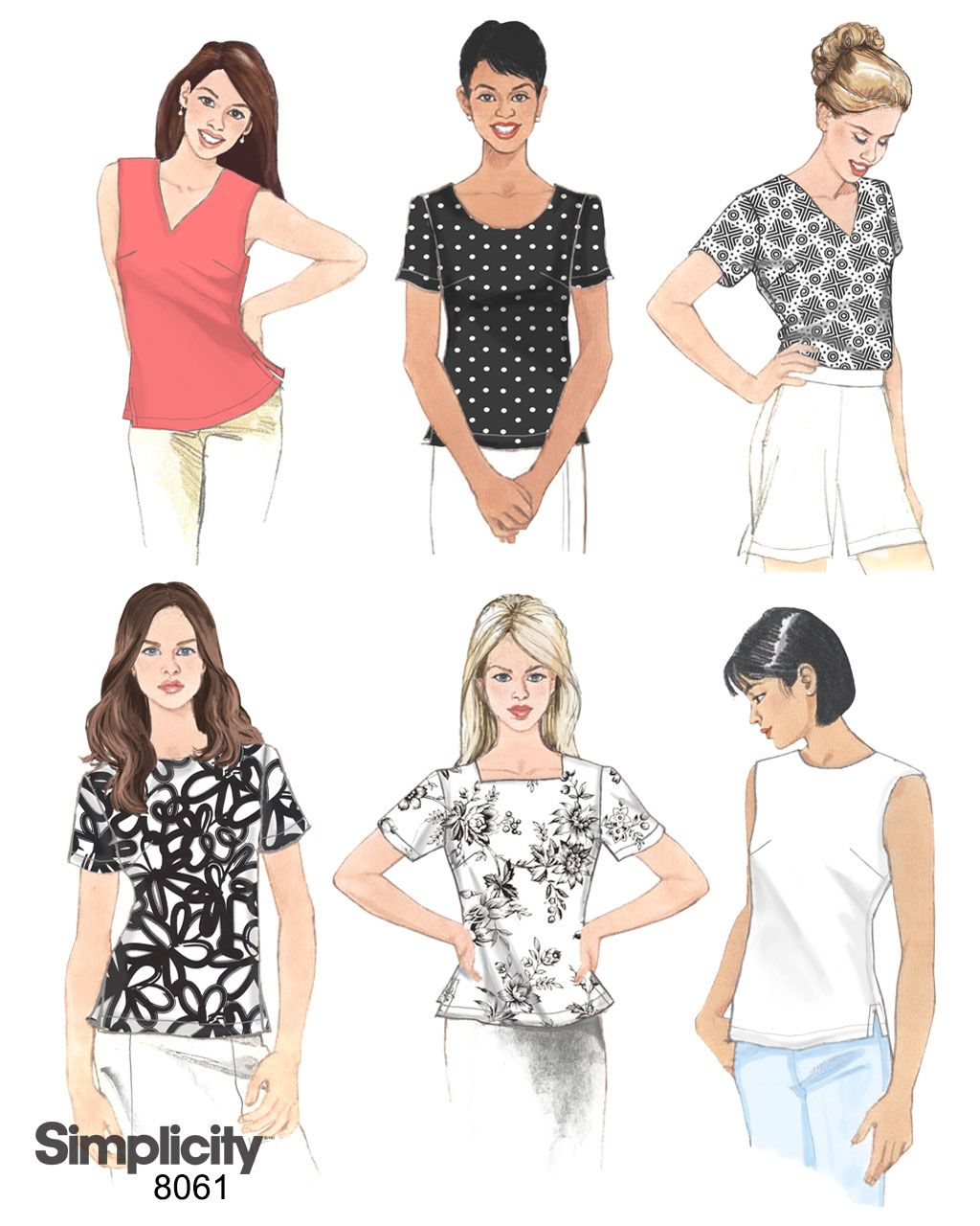Simplicity Sewing Pattern 8061 Misses Tops