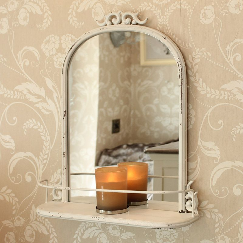 Antique Style Mirror With Shelf Distressed Metal Scroll Arch Bathroom
