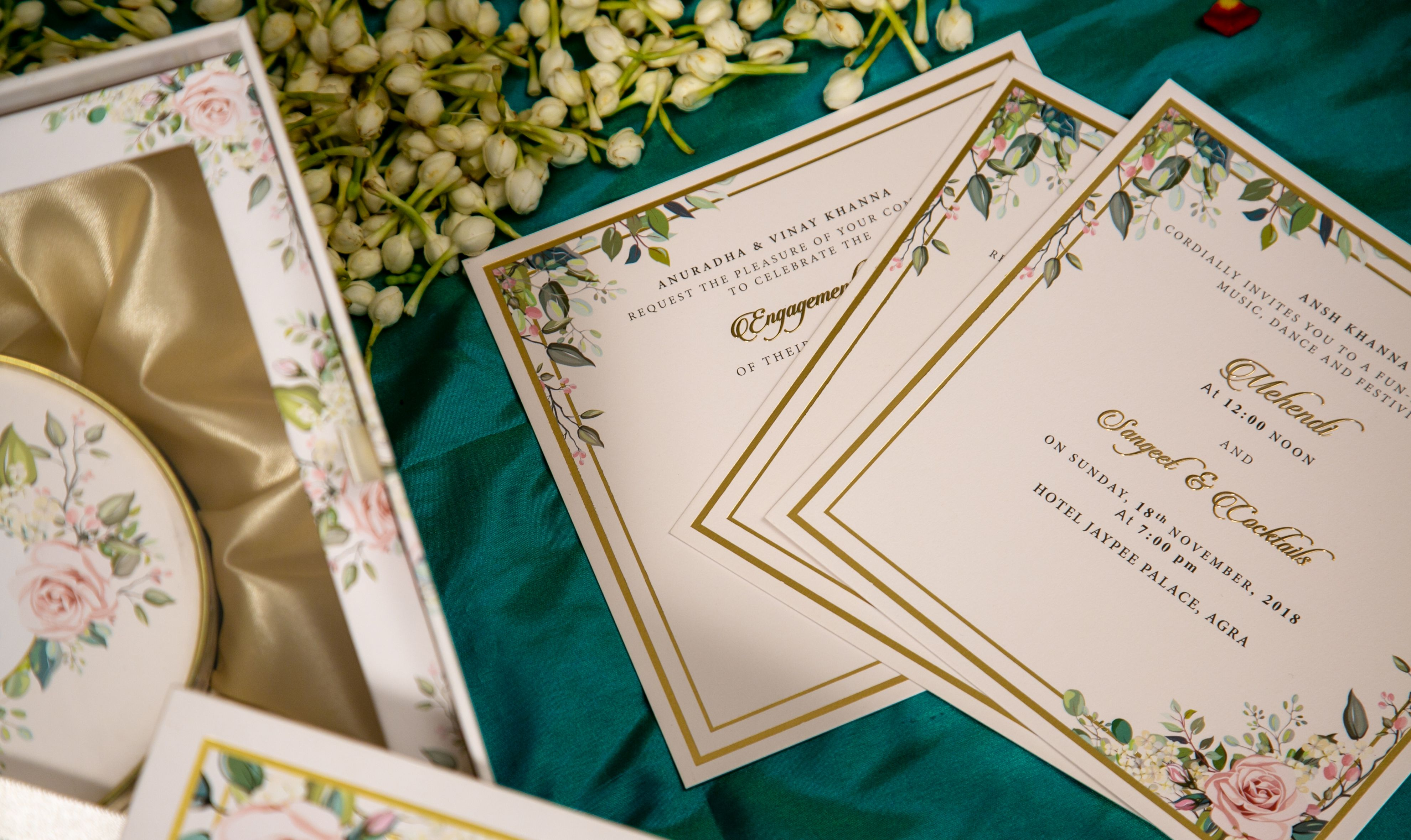 Indian wedding card with dry fruits as a boxed invitation