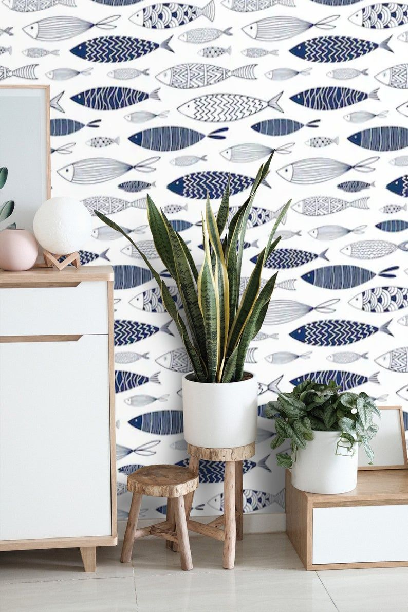 Nautical Wallpaper Peel And Stick Wallpaper Fish Wall Mural Etsy Nautical Wallpaper Wallpaper Accent Wall Vinyl Wallpaper