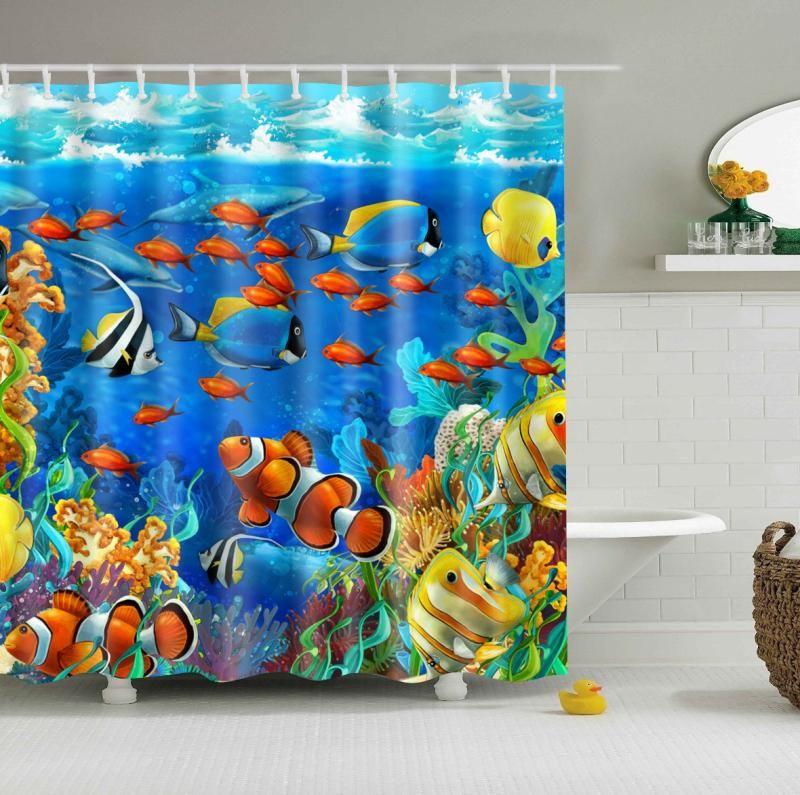 Blue Ocean World Shower Curtain Bathroom Curtain 180*180cm PEVA Shower Curtain