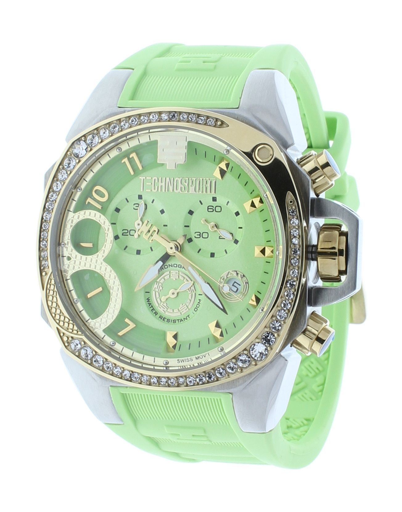 996198f0630 Technosport TS-103-5 Women s Swiss Light Green Chronograph Watch Crystal  Accented Bezel Relógios