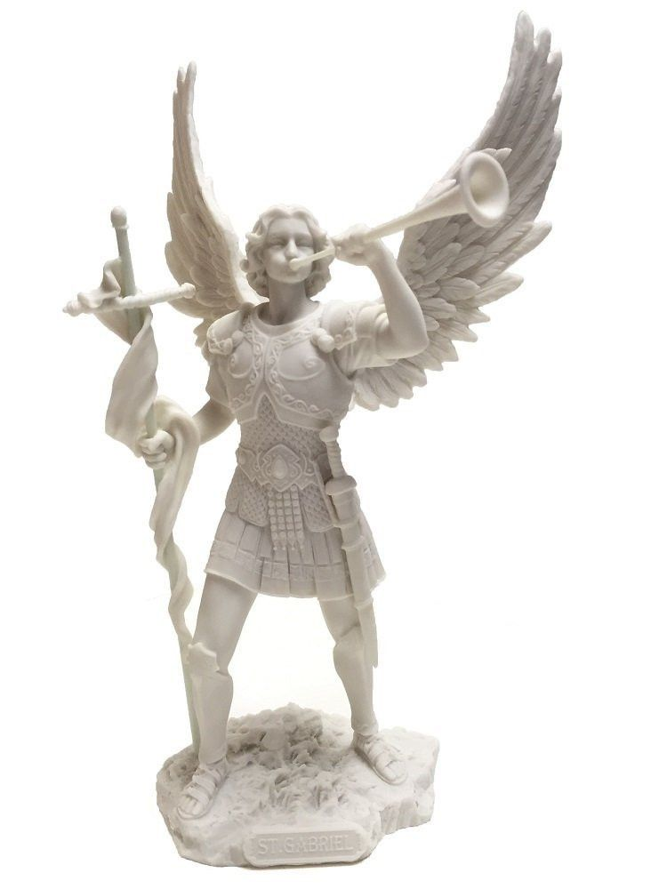 Marble White Archangel Saint Gabriel Blowing Trumpet