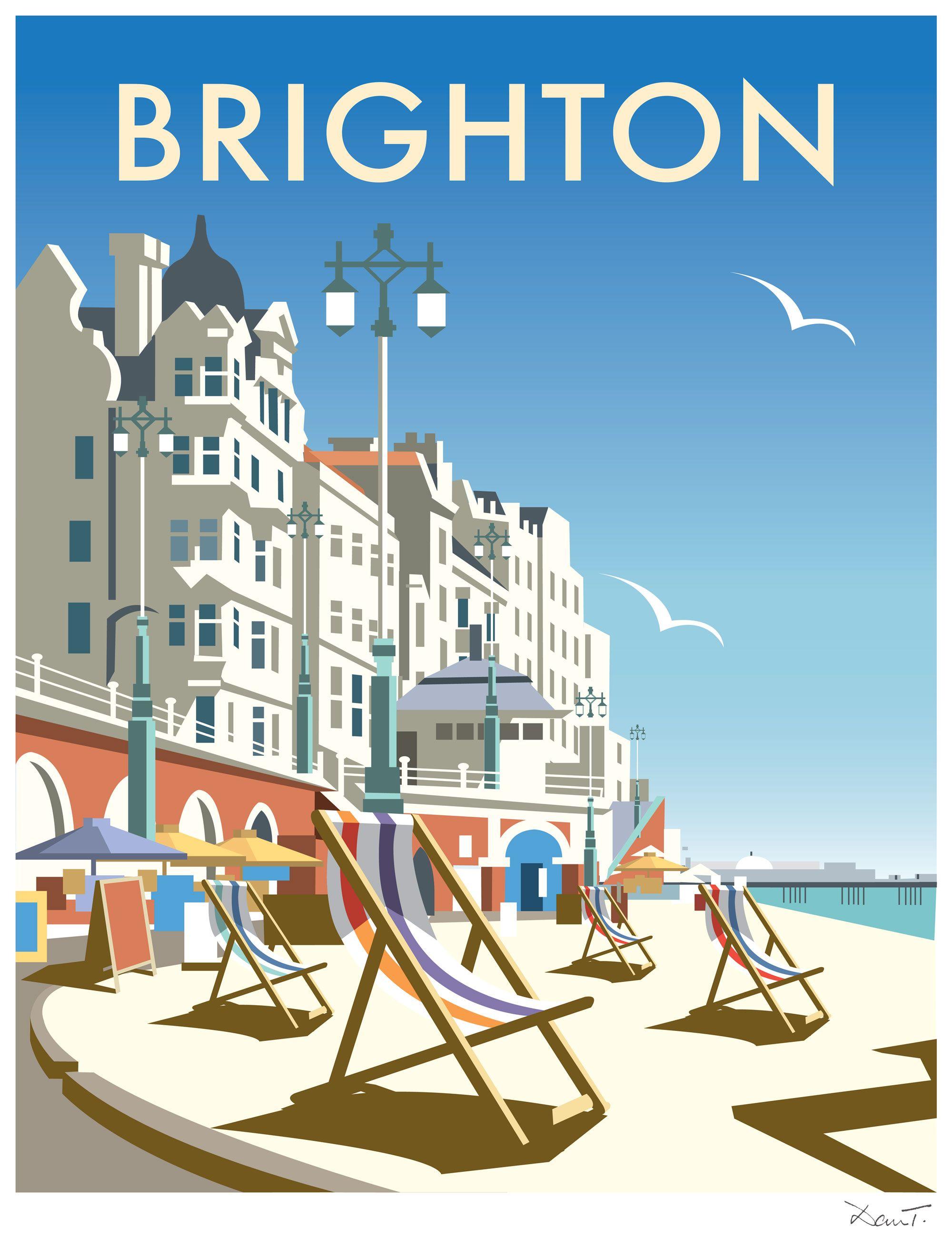 brighton dt19 beach coastal print by dave thompson. Black Bedroom Furniture Sets. Home Design Ideas