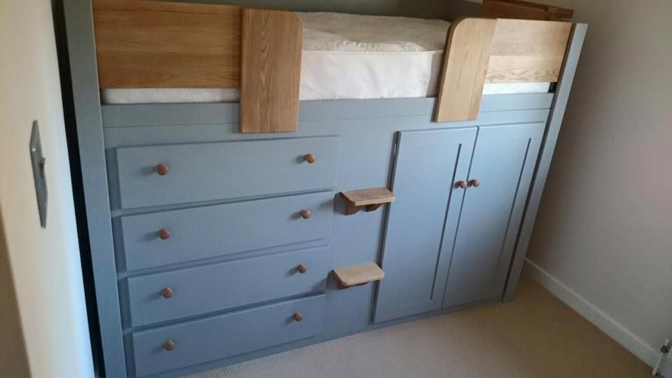 manor house grey four drawer cabin bed with solid oak steps front rails and knobs guaranteed. Black Bedroom Furniture Sets. Home Design Ideas
