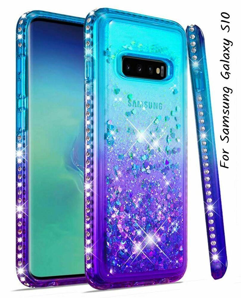For samsung galaxy s10 case liquid diamond glitter girls