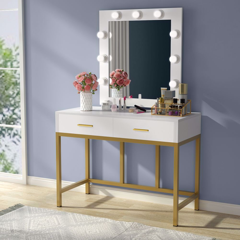 This Elegant Lighted Vanity Table With Mirror And 9 Hollywood Style Led Light Bulbs Will Glamorize Your Bedroo Vanity Table Set Bedroom Vanity Set Vanity Table