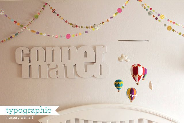 Baby Name Wall Art typographic baby name wall-art using cardboard box! #nursery