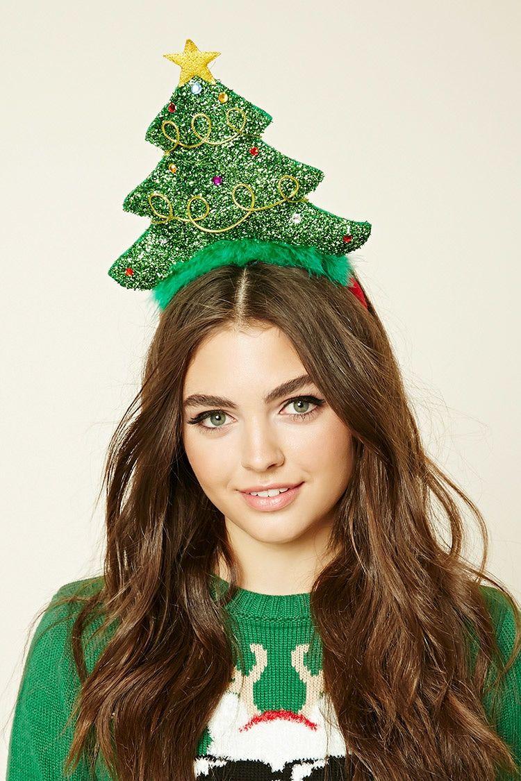 A Headband Featuring A Shimmering Decorative Christmas Tree Embellishment And Fuzzy Trim Gorros Navidad Diademas Navidad Villancicos Navidenos
