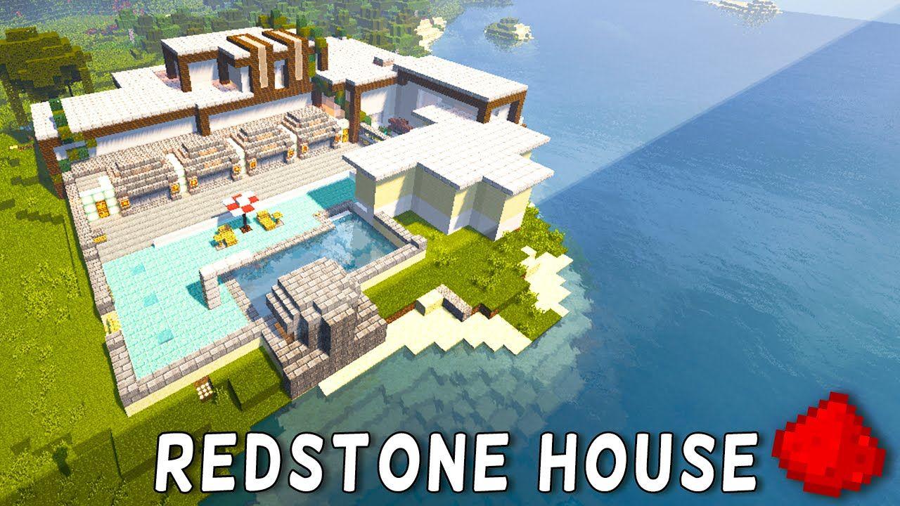 Redstone Modern Beach House Redstone Modern Mansion Minecraft