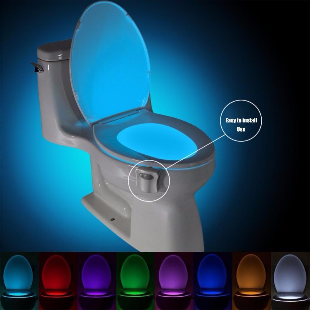 Smart Pir Motion Sensor Toilet Seat Night Light 8 Colors Waterproof Backlight For Toilet Bowl Led In 2020 Bathroom Night Light Motion Sensor Lights Sensor Night Lights
