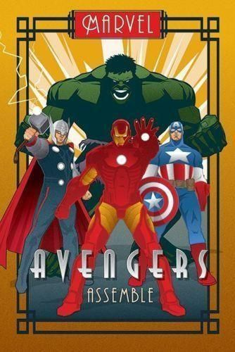 Avengers Art Deco Poster Marvel Comics Retro Vintage Print Wall Art Large Maxi Avengers Art Avengers Poster Marvel Posters