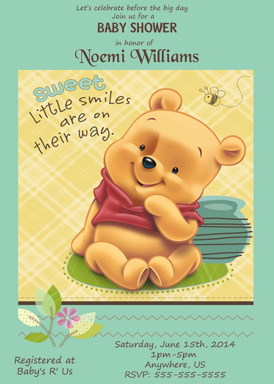 Winnie The Pooh Baby Shower Invitations Part - 45: Baby Winnie The Pooh Baby Shower Invitations - Baby Shower Invitations