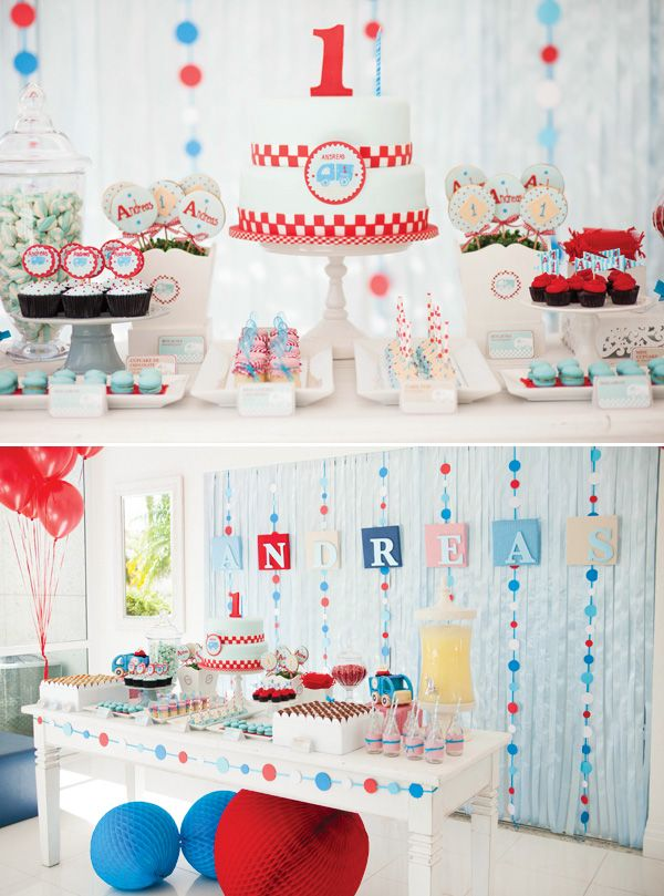 Modern Little Blue Truck First Birthday Party Hostess with the