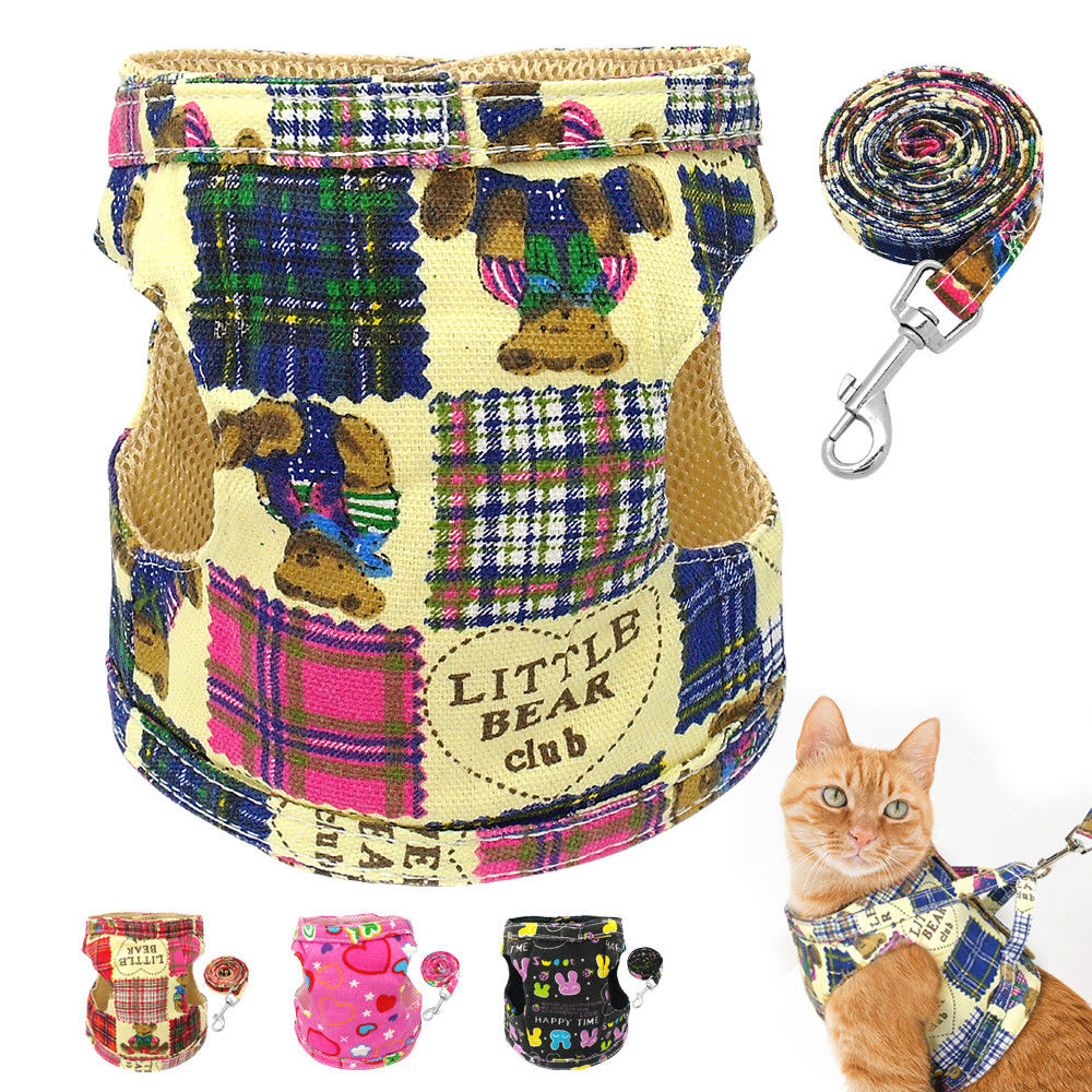 Type Cute Pet Cat Walking Harness And Leads Set Material Fabric Mesh Padded 4 Colours Black Blue Pink Hot Pink Features 2 Rows Plastic Buckle Design Easy On An