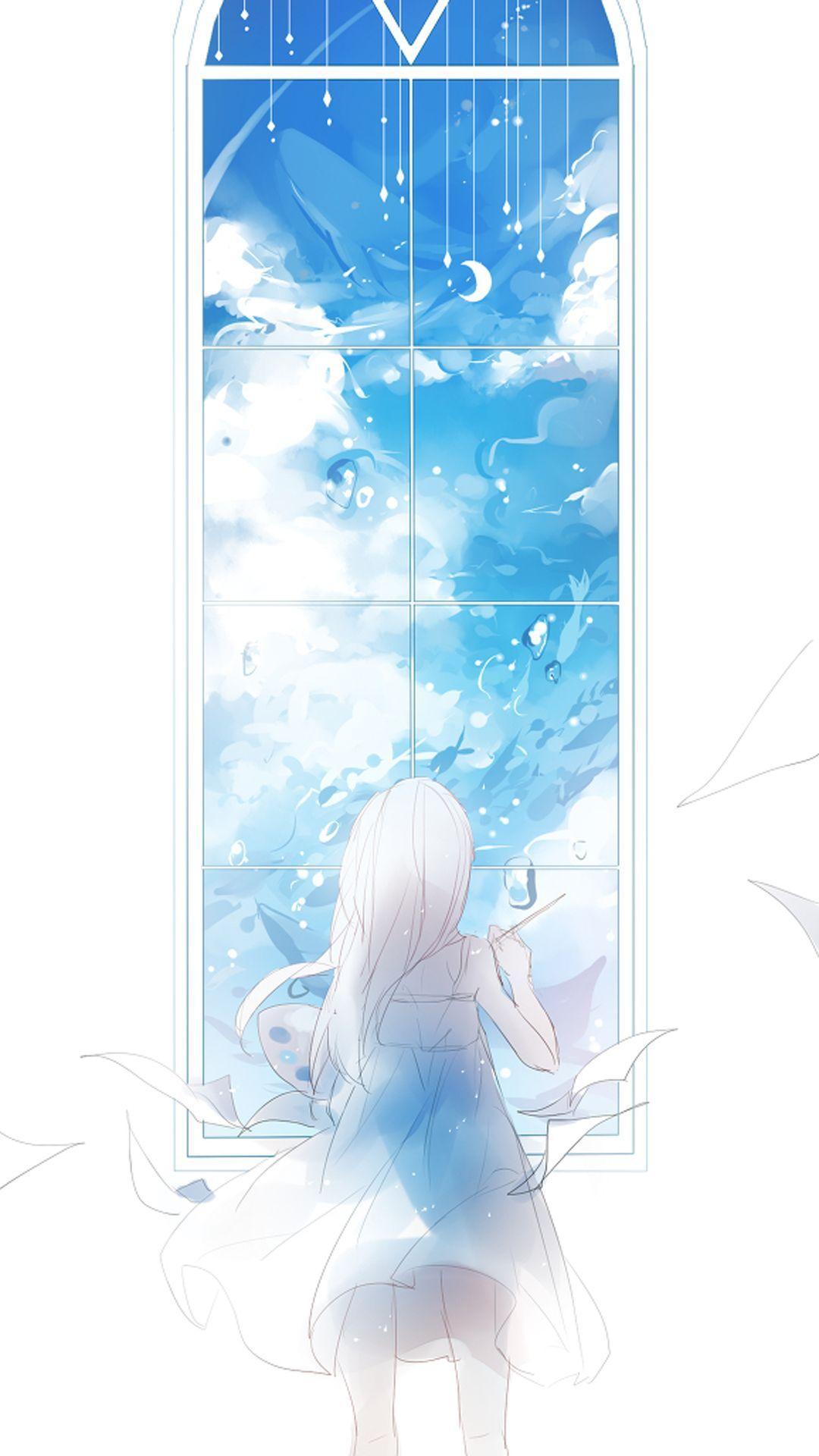 Dream In Window Anime Wallpaper Blue Hair Anime Boy Anime Art