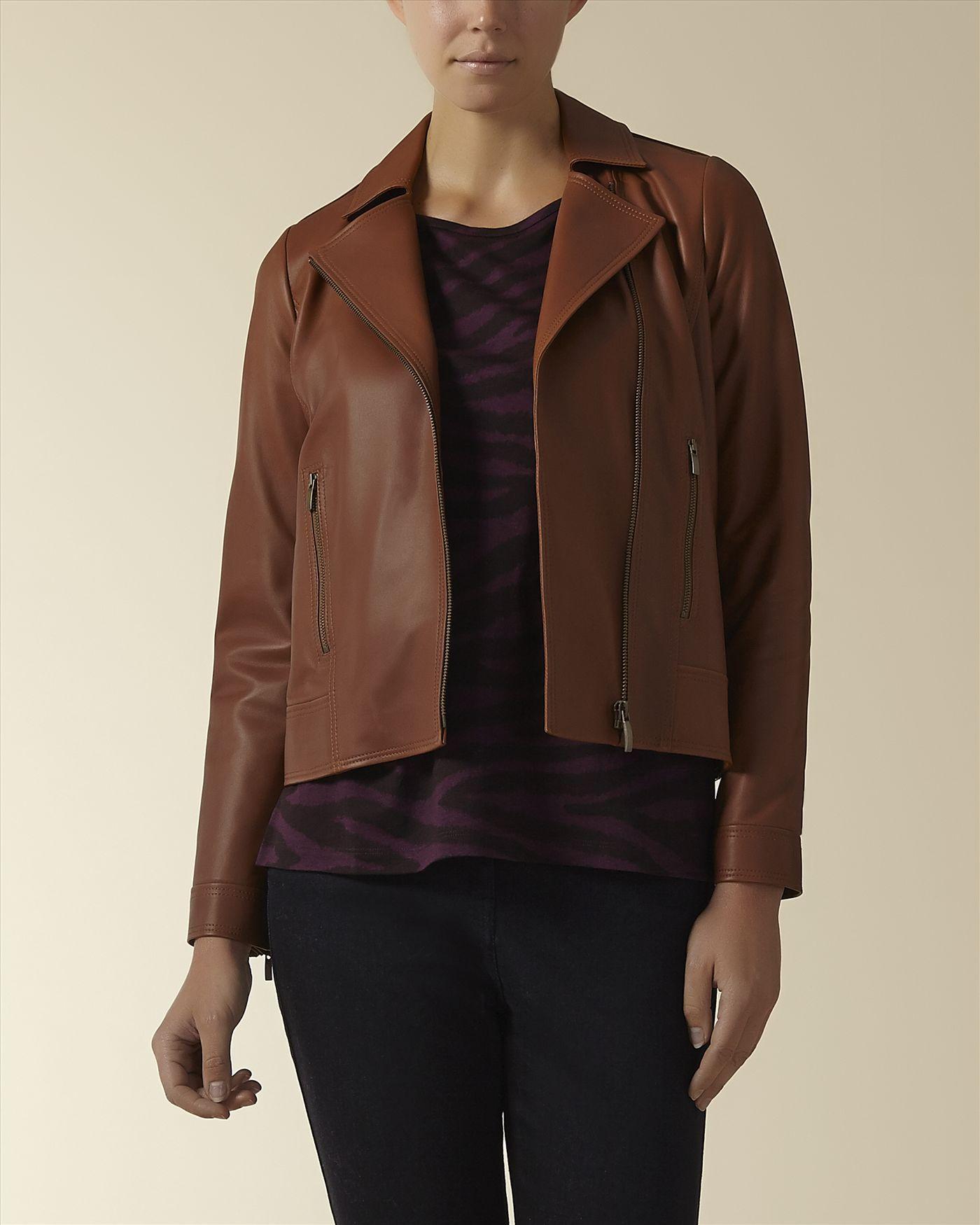 Leather Biker Jacket,Caramel,original Fashion, Womens