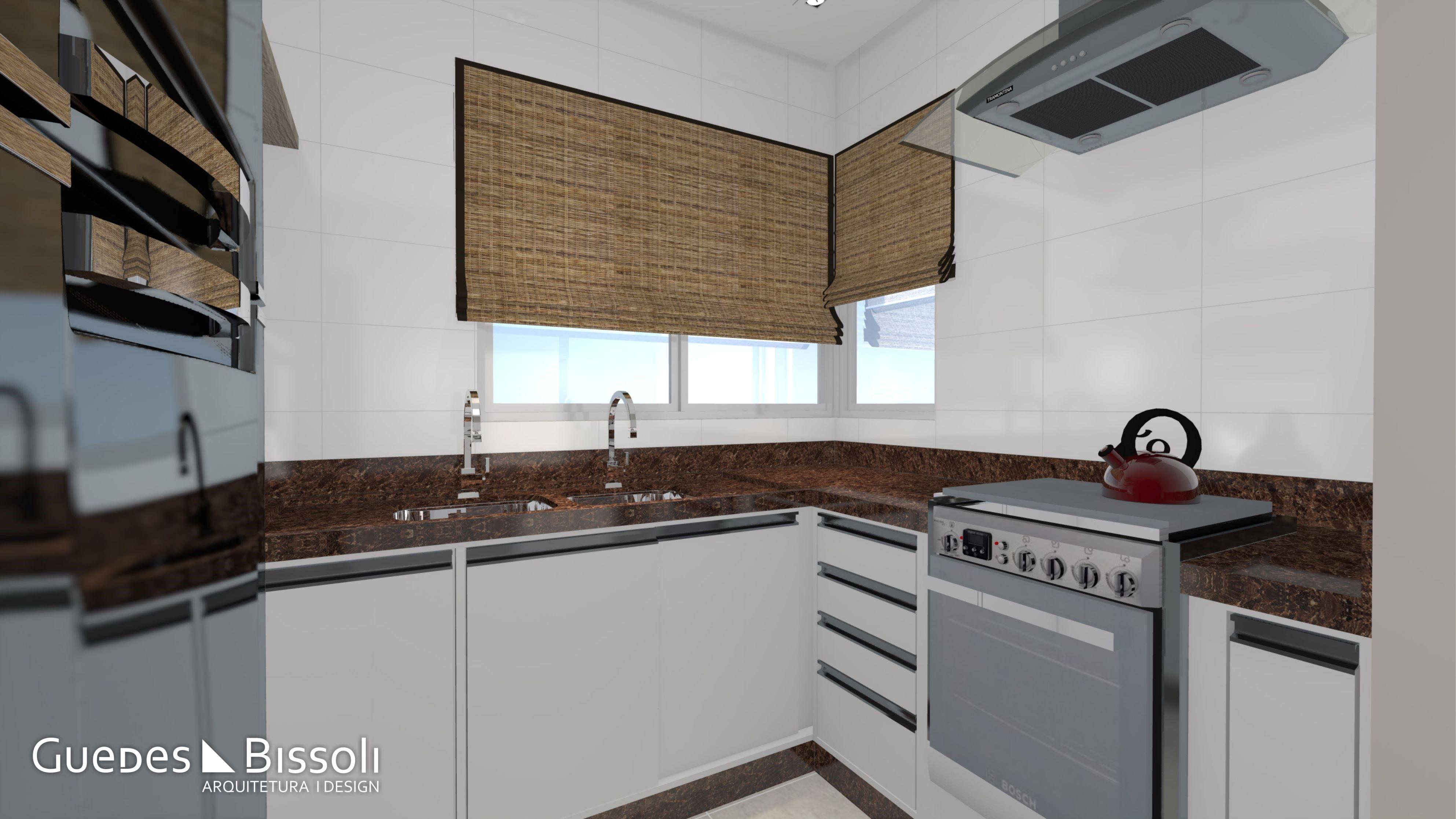 Cozinha Moderna E Compacta Com Granito Marrom Ou Similar E M Veis