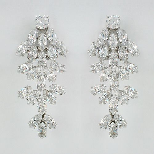 Clip On Bridal Earrings Waterfall Cz Wedding