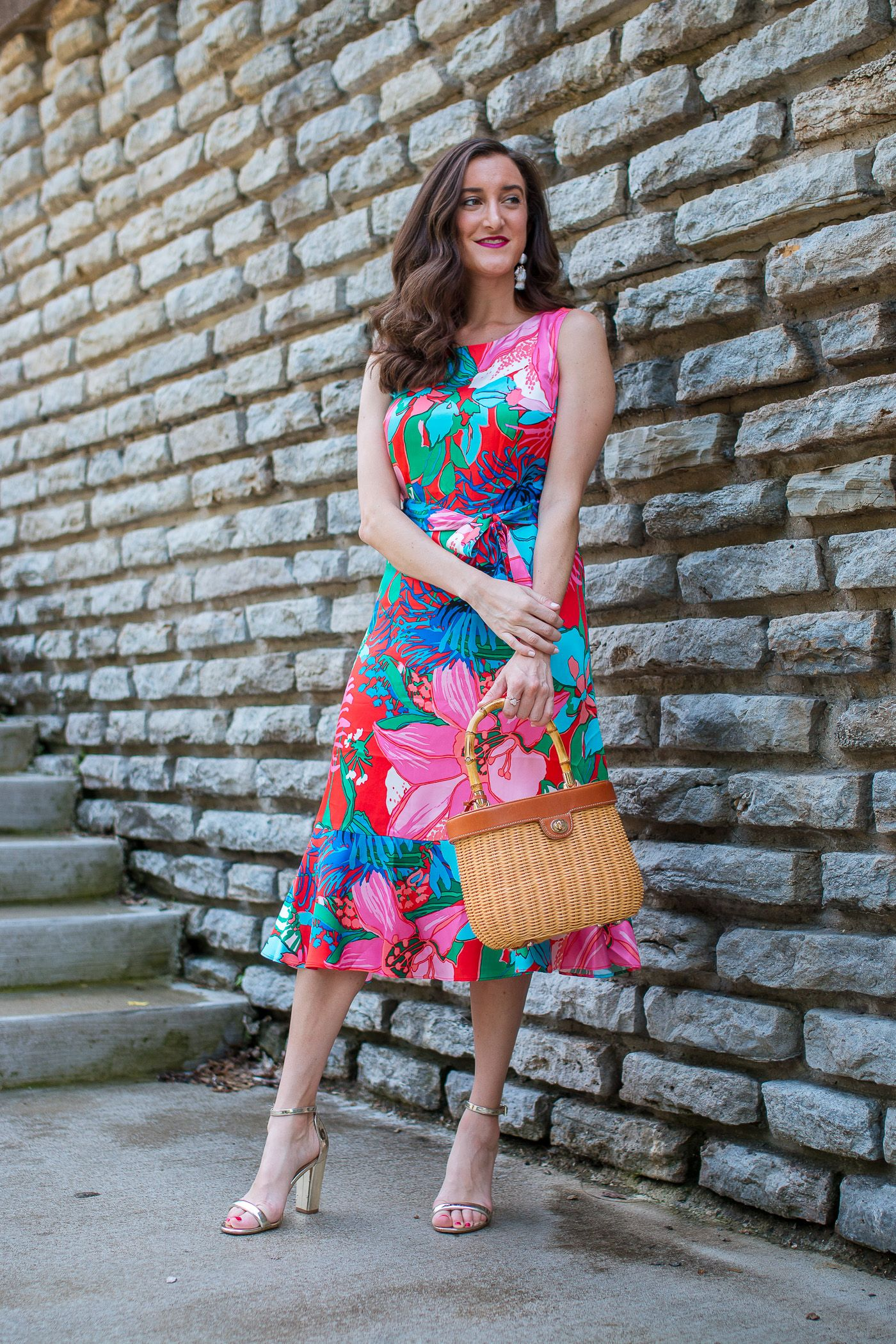 Colorful Midi Dress Fit And Flare Dress Floral Print Midi Dress Colorful Midi Dress [ 2100 x 1400 Pixel ]
