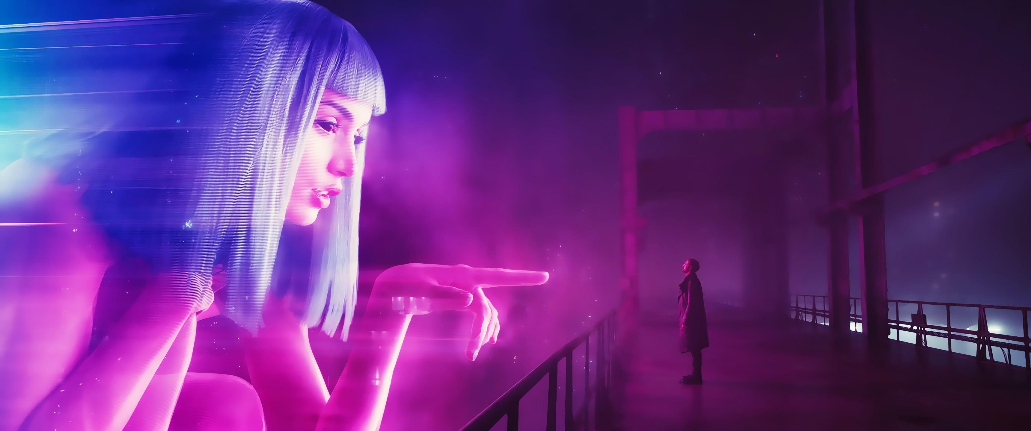 White Haired Woman Digital Wallpaper Blade Runner 2049 Cyberpunk Movies Blade Runner Joi 2k Wallpaper Hdwallpaper Desktop