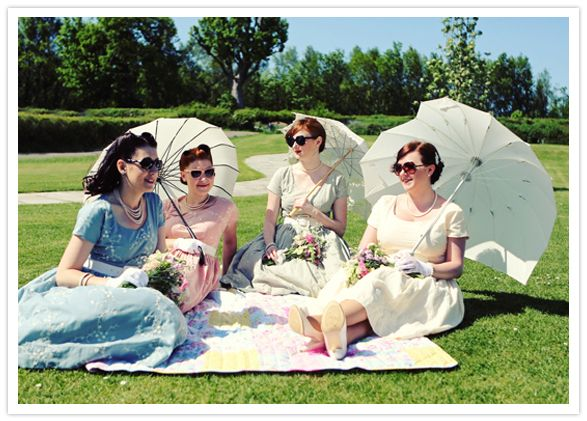 Lovely day for a picnic. http://www.100layercake.com/blog/2012/10/23/vintage-inspired-picnic-wedding-sophie-gareth/