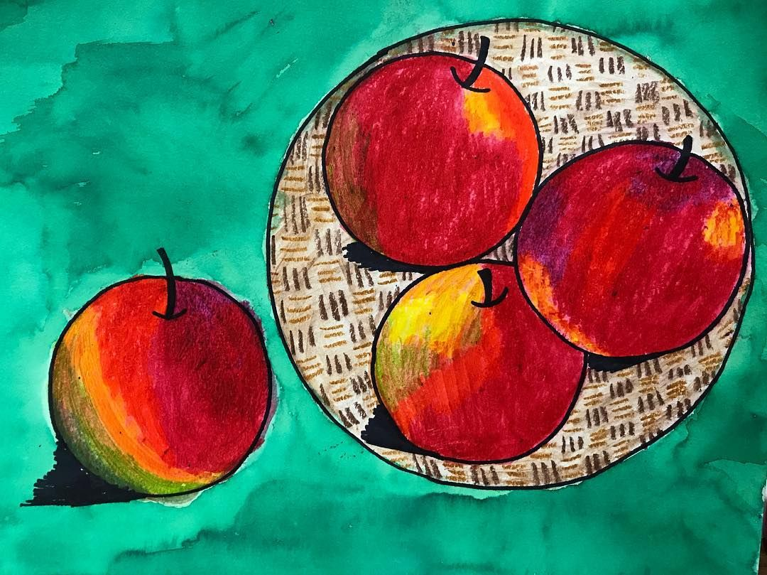 Water soluble oil pastel for apples and bowl, liquid