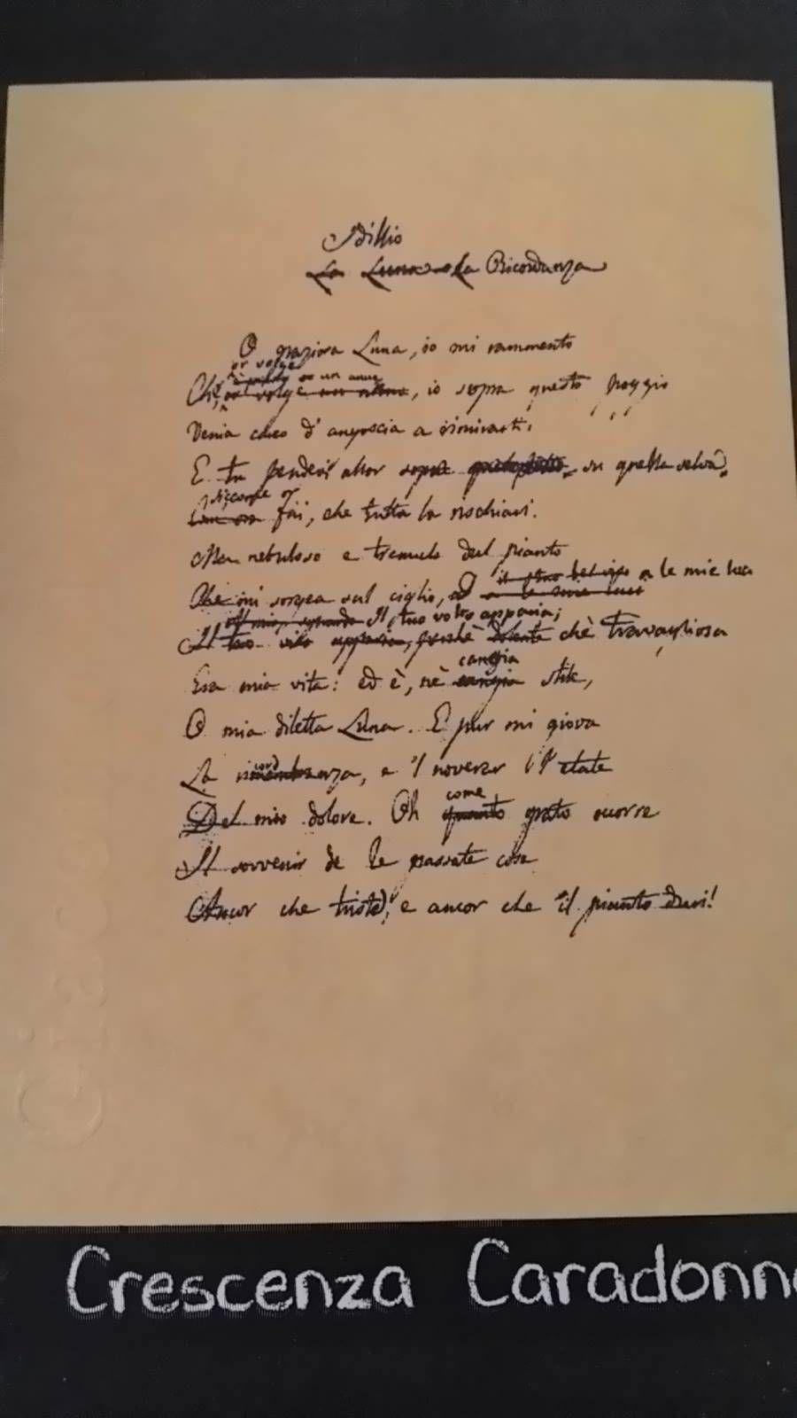 Giacomo Leopardi Alla Luna Leopardi Luna Scrittori