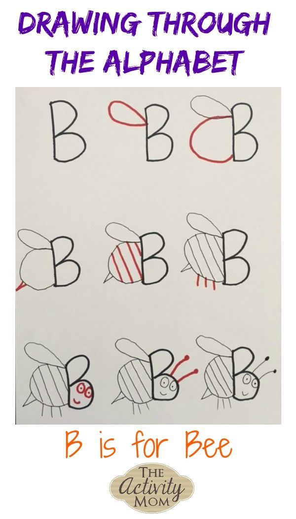 Simple Drawing Tutorials for Kids Drawing Through the Alphabet B is for Bee #drawingforkids #alphabet #lettersounds #howtodraw