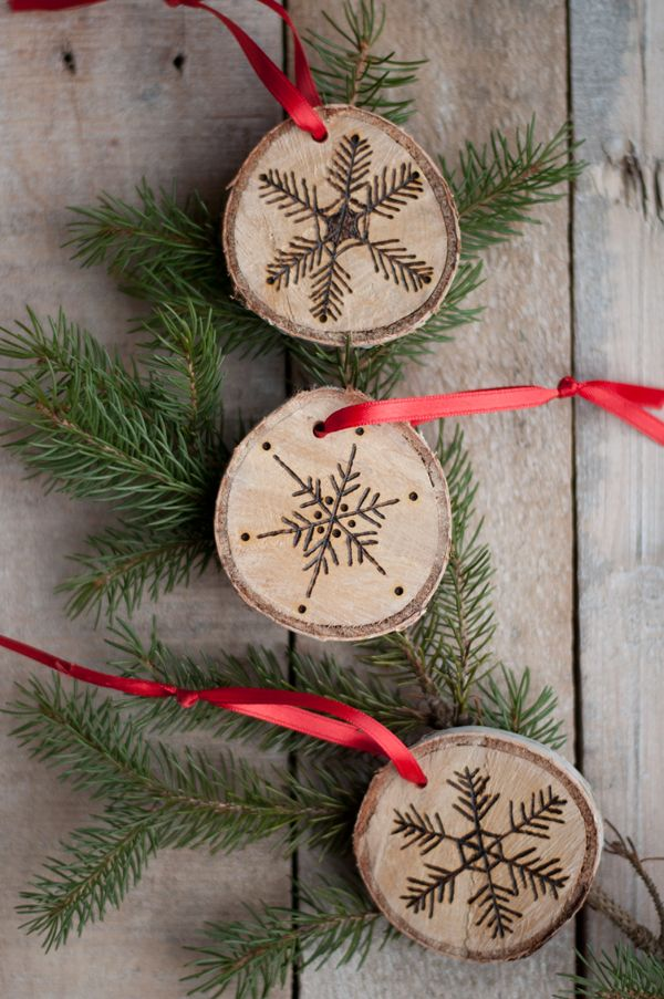 Etched snowflake ornament birch slices