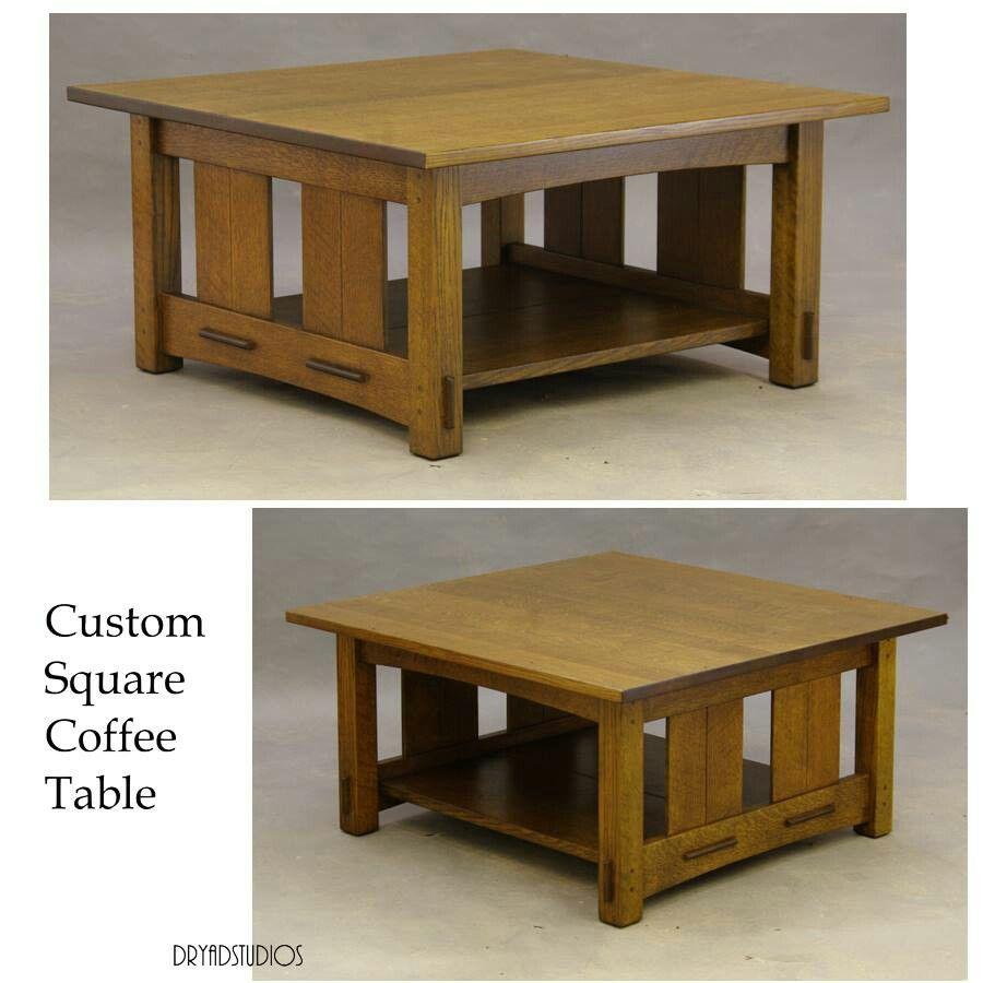 Dryad Studios Arts Crafts Craftsman Mission Oak Stately Custom Square Coffee Table Coffee Table Coffee Table Square Mission Style End Tables