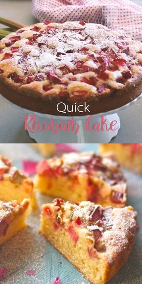 Rhubarb Cake - so easy and quick to make! The cake portion is light, fluffy and streaked with vanilla bean which contrasts beautifully with the slightly sour rhubarb. It's no wonder it's one of the most popular recipes on the blog! | #cakerecipe #rhubarb #dessertrecipes | See this and other delicious recipes at TheSeasideBaker.com #rhubarbdesserts